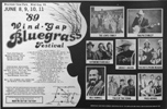 Wind Gap festival advert 'Bluegrass Unlimited' May 1989