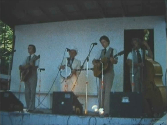 On stage at the festival. L-R: Jr Blankenship, Ralph, Charlie Sizemore, Jack Cooke