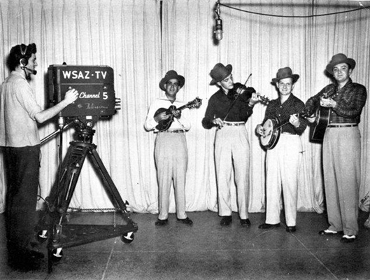 WSAZ-TV in Huntington in 1950. L-R: Pee Wee Lambert, Lester Woodie, Ralph and Carter.