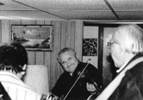 Curly Ray Cline, James King and George Shuffler 'in the basement' 1987.